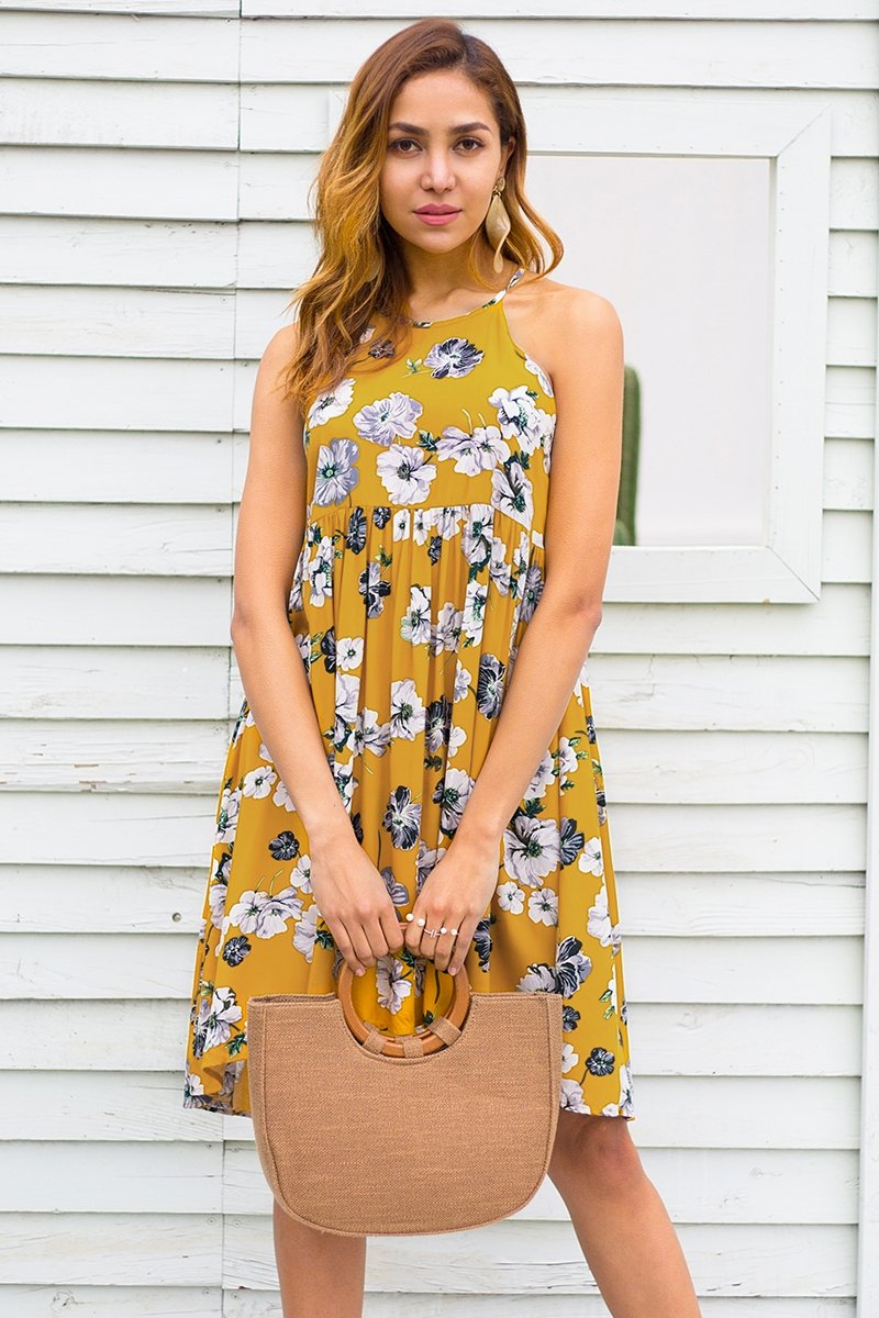 Yellow High Neck Floral Short Dress