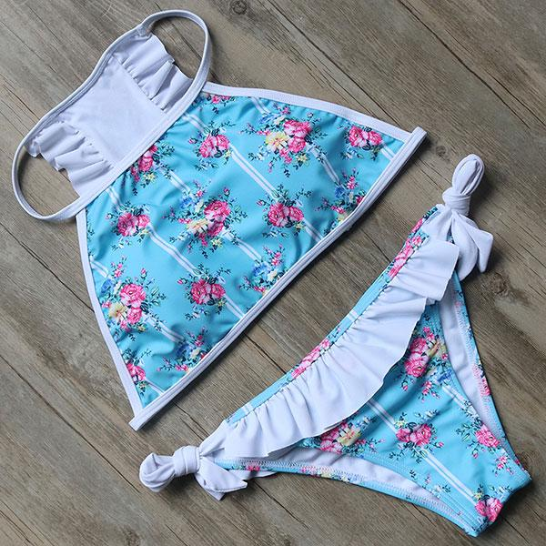 Blooming Floral High Neck Swim Set by Pesci Moda