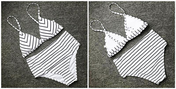 Stylish Striped High Waisted Swimsuit by Pesci Moda