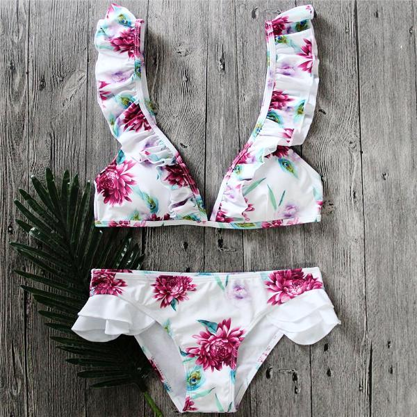 Lovely Beach Ruffle Bikini Set by Pesci Moda