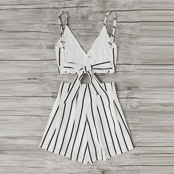 Striped White Crop Top With Shorts Set