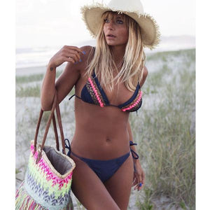 Navy Blue Boho Halter Bikini Set by Pesci Moda