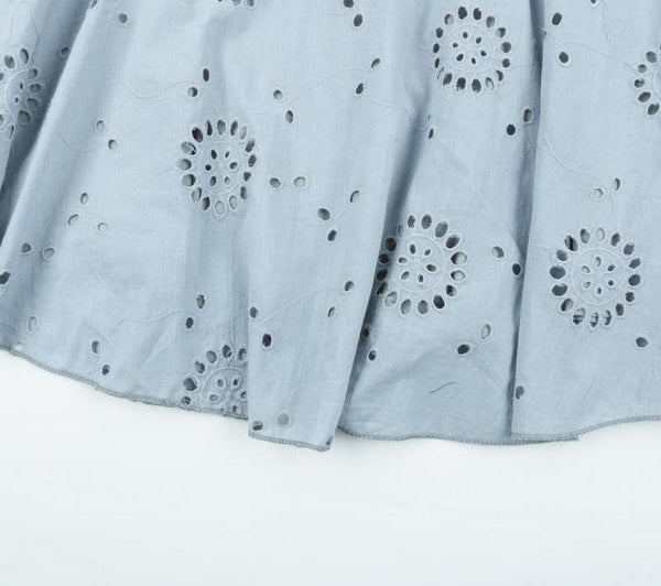 Blue/White Hollow Out Embroidery Short Dress by Pesci Moda
