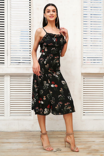 Black Floral Boho Midi Dress by Pesci Moda