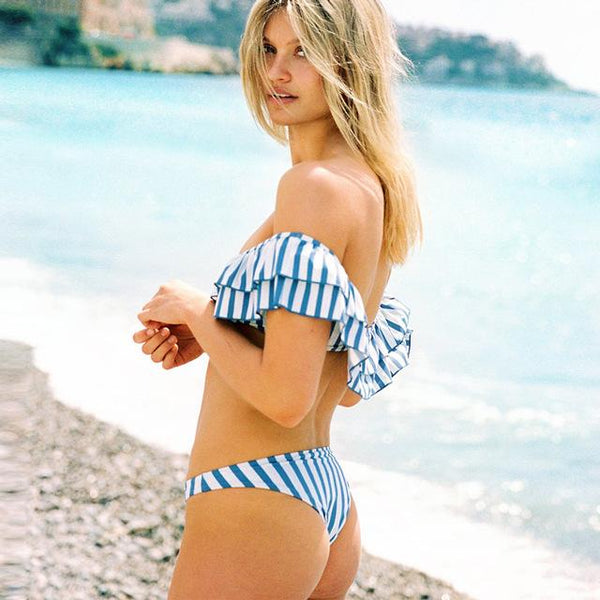 Blue Striped Off Shoulder Bathing Suit by Pesci Moda