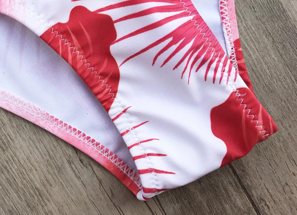 Blush Red Floral Swimsuit by Pesci Moda