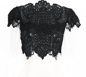 Lace Crochet Short Sleeve Crop Top by Pesci Moda
