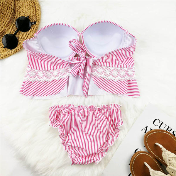 Striped Print Lace Swimsuit Set