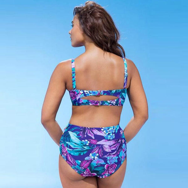 Blue Floral Push Up Plus Size Bikini by Pesci Moda