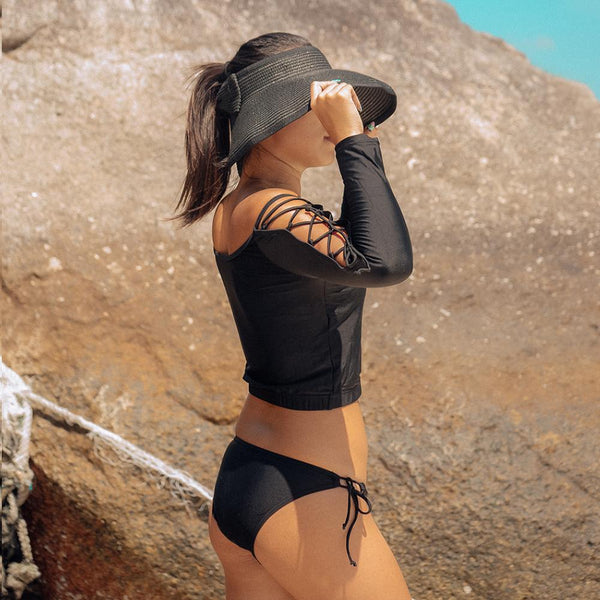 Black Long Sleeves Swimsuit Set by Pesci Moda