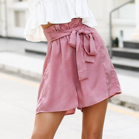 Casual Satin Ruffle Loose Shorts by Pesci Moda