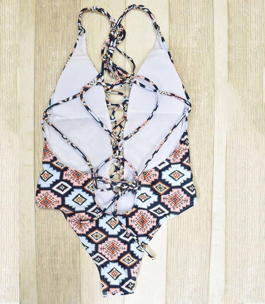 Ethnic Print Monokini One Piece Swimsuit by Pesci Moda
