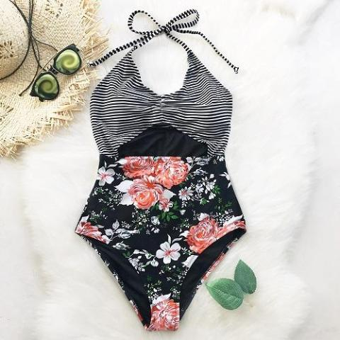 Black Floral Summer Sexy Swimsuit by Pesci Moda