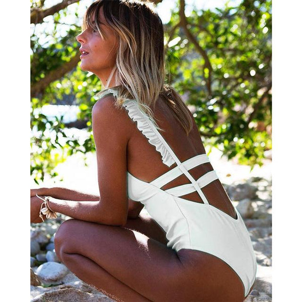 Chic Trending Ruffle Backless Swimsuit by Pesci Moda