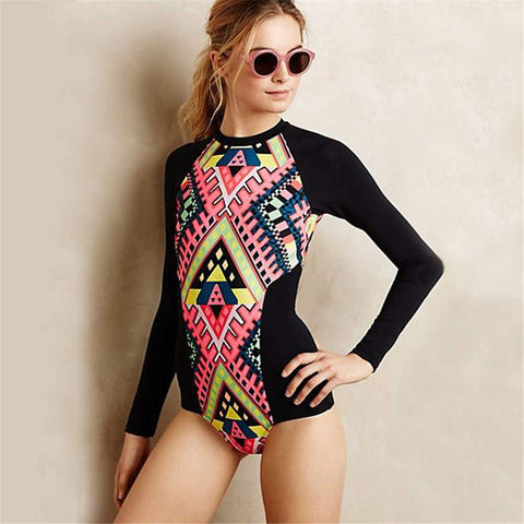 Black Geometric Long Sleeves Swimsuit by Pesci Moda
