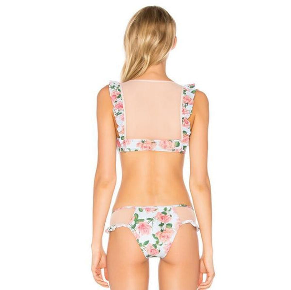 Pink Rosy Floral Lace Swimsuit Set