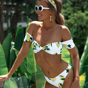 Off Shoulder Lemon Print Swimsuit Set by Pesci Moda