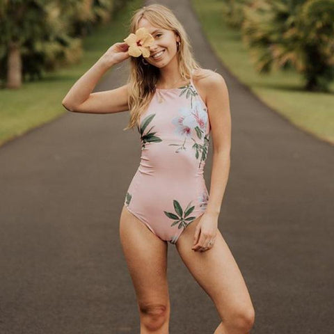 Light Pink Floral High Neck Swimsuit