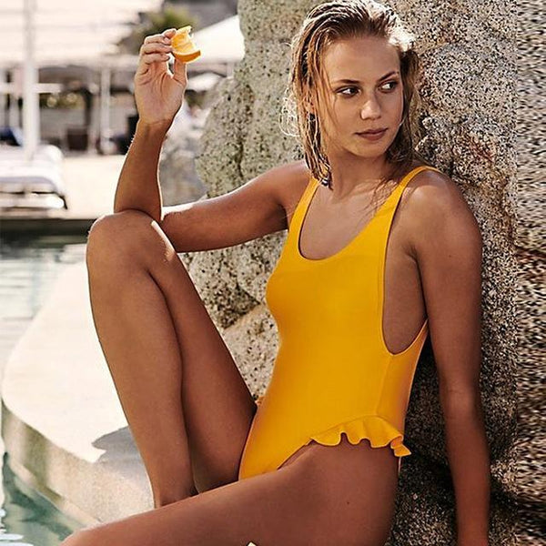 Summer Splash Monokini Ruffle Solid Swimsuit