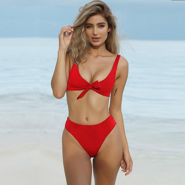Bow Knot Sexy High Waisted Swimsuit Set