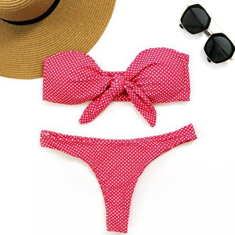 Deep Pink Dot Front Bow Knot Bikini Set by Pesci Moda