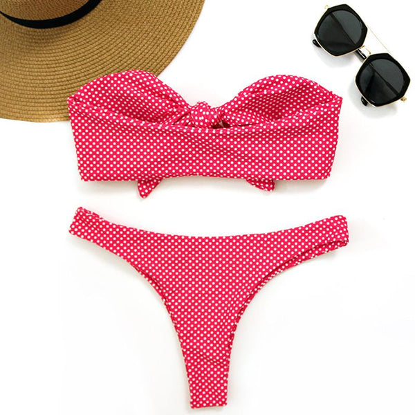 Deep Pink Dot Front Bow Knot Bikini Set