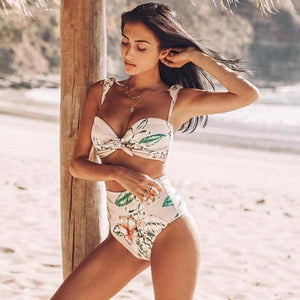 Floral High Waisted Bathing Suit by Pesci Moda