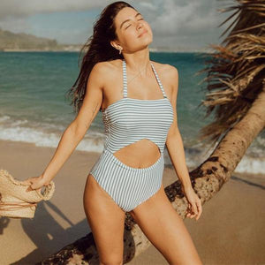 Gray Stripe Halter Cut Out Bathing Suit by Pesci Moda