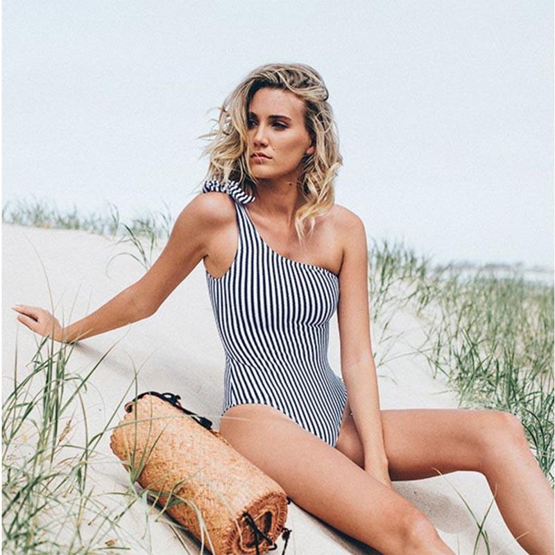 New Striped One Shoulder Swimsuit