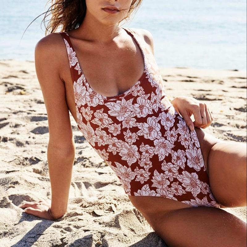 Vintage Red & White Floral Scoop Neck Swimsuit