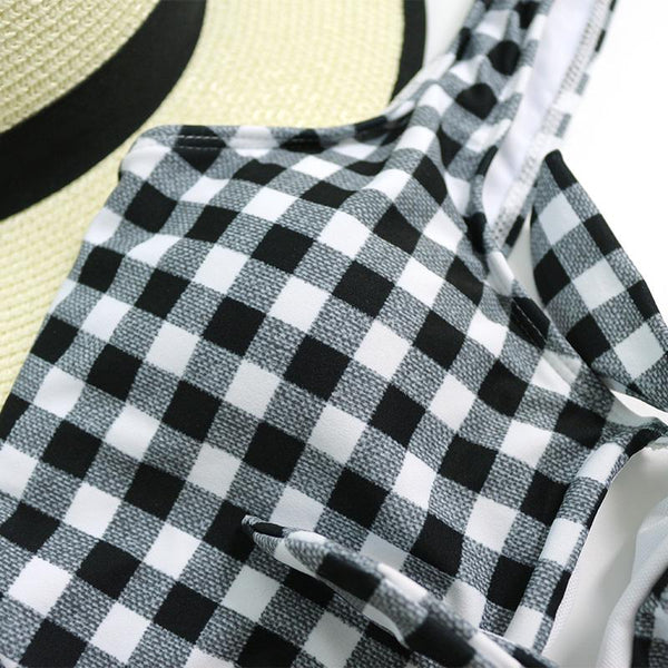 Sexy Retro Black White Plaid Swimsuit