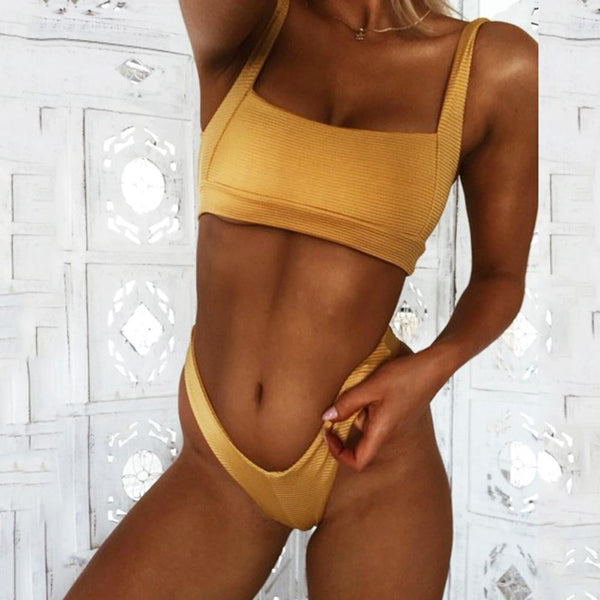 Retro Sexy Scoop Neck Bandeau Bikini Set
