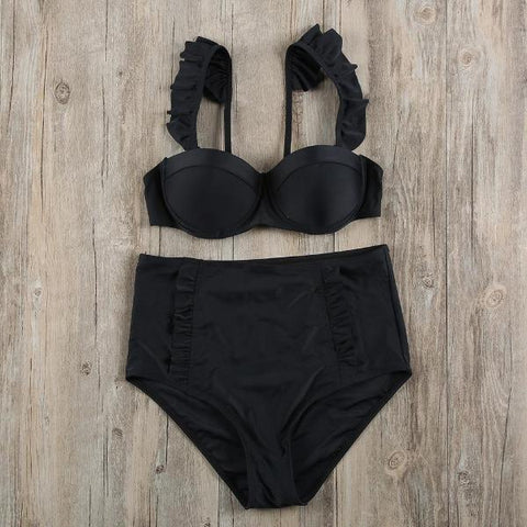 Sexy Black High Waisted Swimsuit