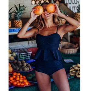 Navy Blue Push Up Tankini Swimsuit by Pesci Moda