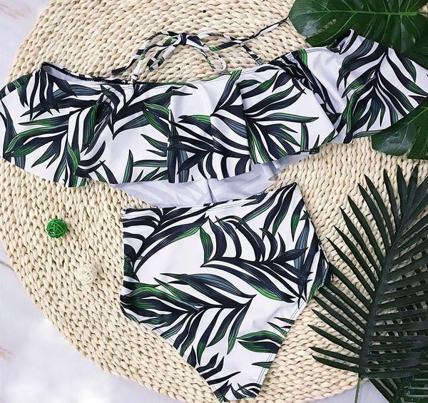 Green Leaf Ruffle High Waisted Bikini
