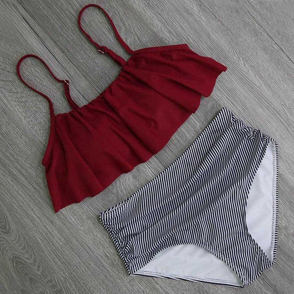 Beach Crush Striped Ruffle Swimwear