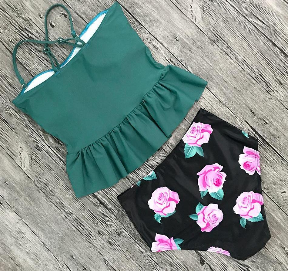 cd86d78d42ba3 Buy Cheap Green With Floral Print High Waisted Tankini Swimsuit Set – Pesci  Moda