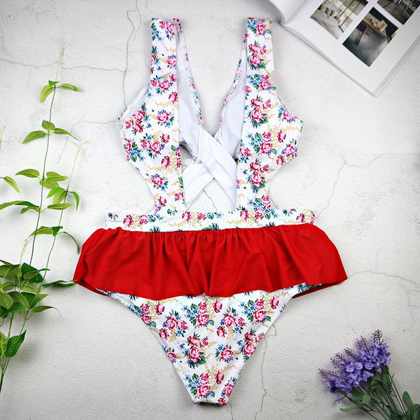 Sexy Criss-Cross Ruffle Flower Swimsuit