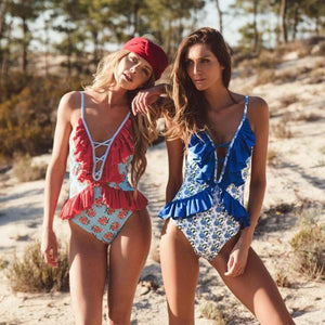 Boho Fashion Ruffle Monokini Swimsuit