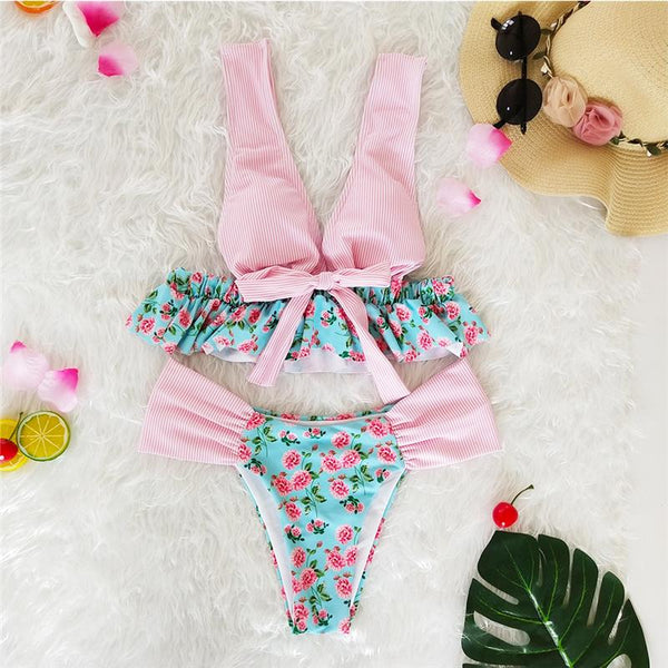 Retro Beach Floral Ruffled Bikini Sets