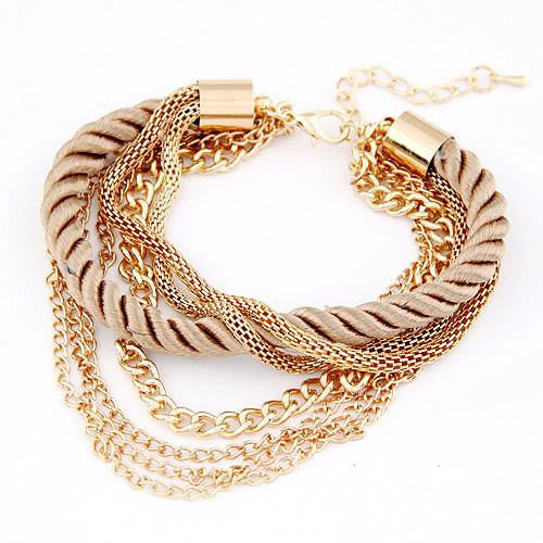 Fashion Jewelry Rope Gold Chain Multilayer Bracelets by Pesci Moda