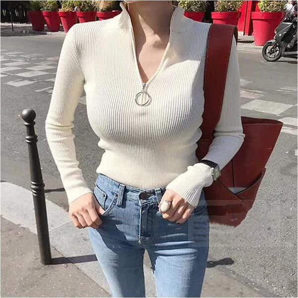 Casual Bodycon Zipper Sweaters