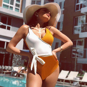 Sunshine Yellow And White Swimwear