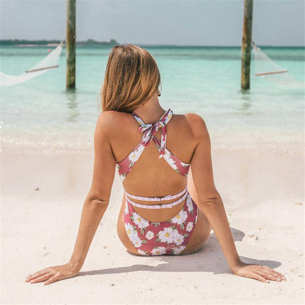 Beach Floral Plunging Neck Bathing Suit