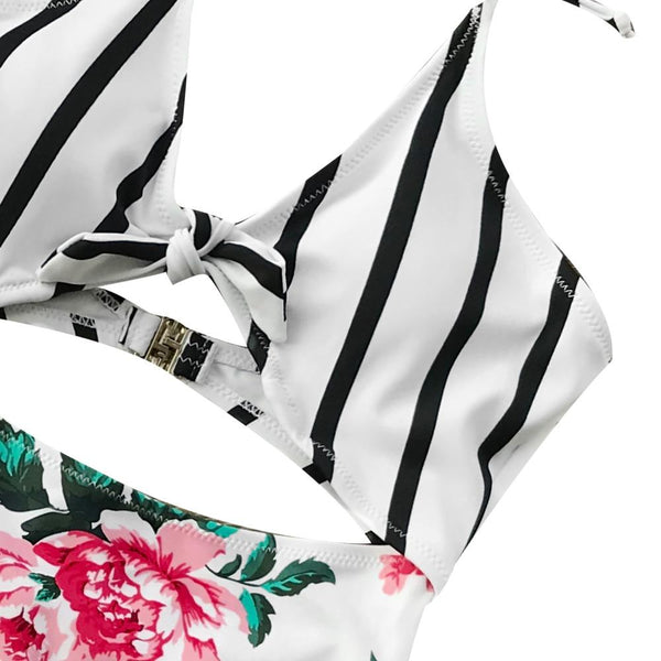 White Striped And Floral Swimsuit