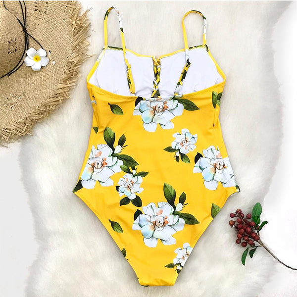 Summer Chic Yellow Floral Swimsuit