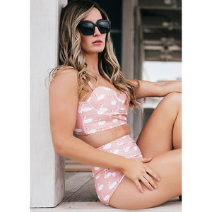 Pink Swan High Waist Swimsuit