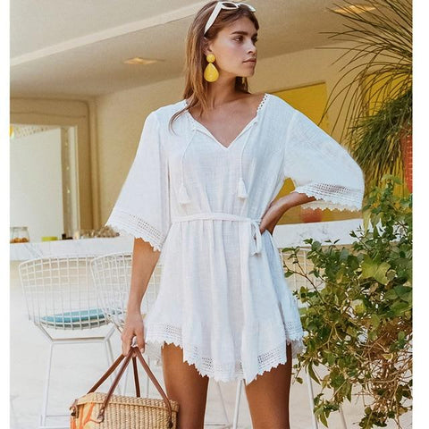 White Lace Short Beach Dress