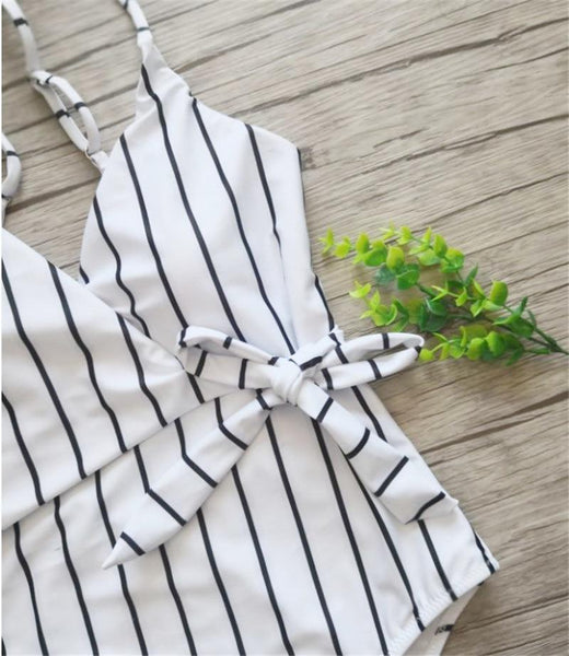 Black White Striped Swimsuit S-XXL
