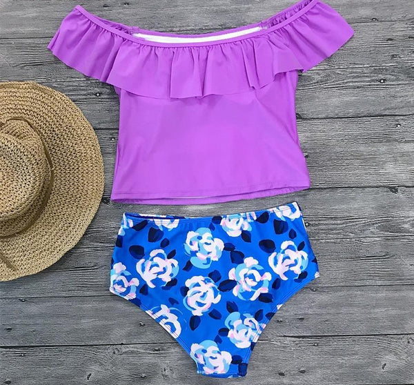 Purple Floral Swimwear